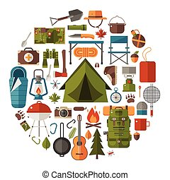 Camping and Hiking Vector Icons - Hiking icons set. Camping...