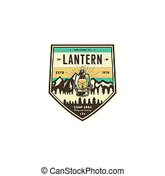Camping and hiking vintage badge. Mountain explorer label. Outdoor adventure logo design with lantern. Travel and hipster insignia. Wilderness, forest camping emblem. Hiking, backpack. Stock