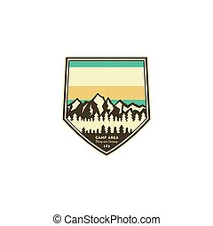 Camping and hiking vintage badge. Mountain explorer label template. Outdoor adventure logo design with mountains. Stock vector patch