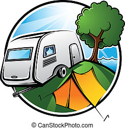 Camping Area - An idyllic camping area with a caravan, a ...