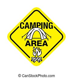 Camping area zone road sign