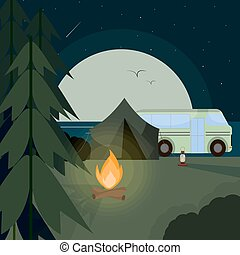 Camping at night illustration with big moon, river, bus and tent