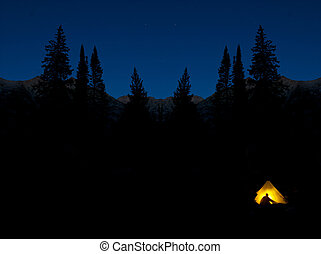 Camping at Night in Glowing Tent Pine Trees Wilderness Darkness