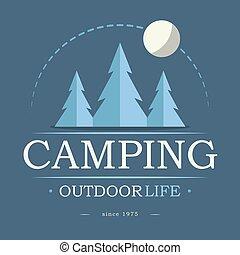 Camping at night, outdoor life emblem, green trees, vector image