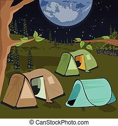 camping at night with tents under the night sky with a lot of stars and big moon