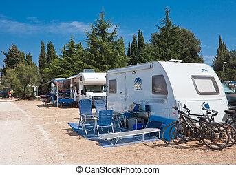 camping, auf, der, adria, sea., kroatien