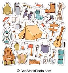 camping, autocollants, dans, main, dessiné, style, vector.