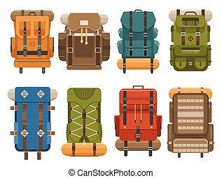 Camping Backpack Set - Camping backpack set in flat design....