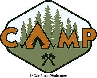 Camping badge, emblem.
