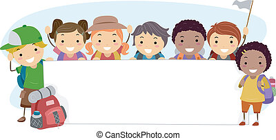 Camping Banner - Illustration of Campers Holding a Blank...