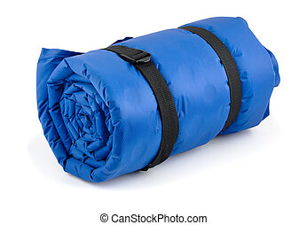 Rolled blue inflatable camping bed isolated on white