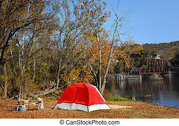 Camping Besides Table Rock Lake - Red tent is set up next to...
