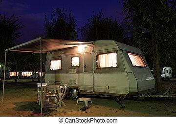 camping, beweglich, standort, nacht, daheim, europäische