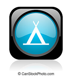 camping black and blue square web glossy icon