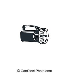 Camping black flashlight icon. Silhouette hiking equipment symbol. isolated on white background
