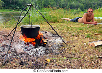 camping, -, bouilloire, et, mensonge, touriste