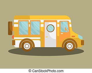 Camping Bus Or Camper Van Motorhome Car Or Vehicle Vector
