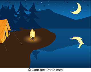 Camping by the mountain lake - night scene