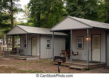 Two camping cabins.