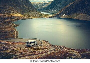camping car, campeur, scénique, voyage route