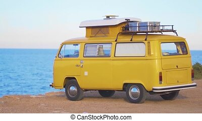 camping car, closeup, contre, camping, sea.