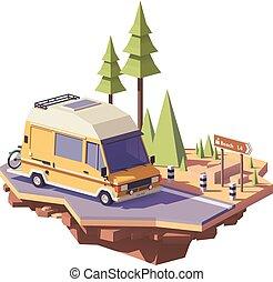 camping car, fourgon, campeur, poly, vecteur, bas