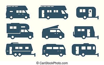 camping car, icônes, véhicules, récréatif, fourgons campeur, voitures