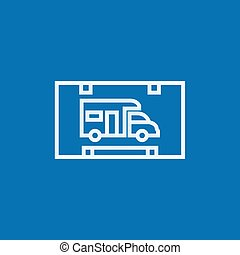 camping car, ligne, icon., camping, signe