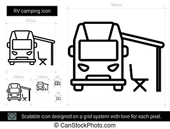 camping car, ligne, icon., camping