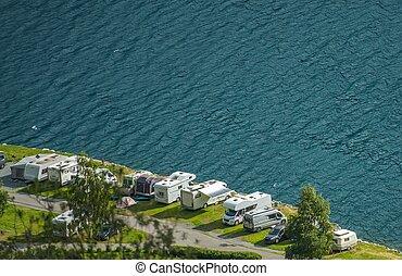 camping car, parc, front mer