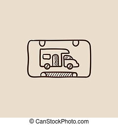 camping car, signe, icon., croquis, camping