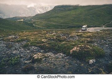 camping car, voyage, dans, scandinavie