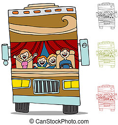camping car, voyage, route