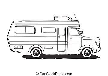 Camping caravan. Motorhome, amper car. Black and white van,...