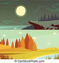 Camping Cartoon Banners Set