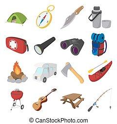 Camping cartoon icons
