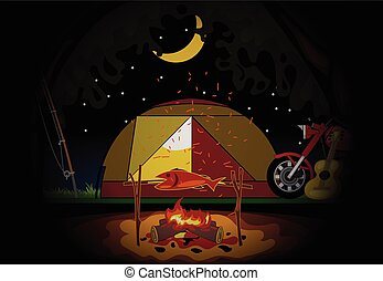Camping celebration at night with a