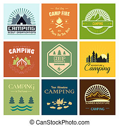 Camping - Set of mountain adventure and expedition logo...