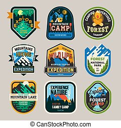 camping, club, isolé, exploration, logo, signes