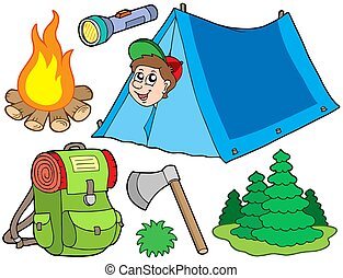 Camping collection on white background - isolated...