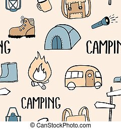 Camping colorful seamless pattern. Travel kit collection. ...