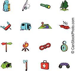 Camping comics icons set cartoon