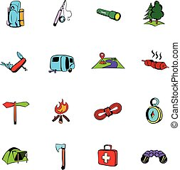 camping, comiques, icônes, ensemble, dessin animé
