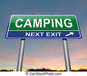 Camping concept. - Illustration depicting a sign with a...