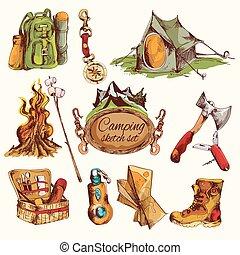 camping, croquis, ensemble, coloré