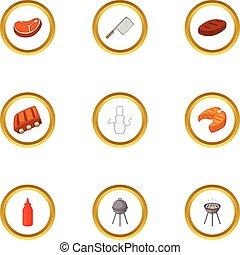 camping, cuisine, icônes, ensemble, dessin animé, style