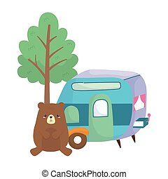 camping cute bear trailer tree cartoon isolated icon design