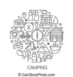 camping, dans, cercle, -, concept, ligne, illustration, pour, couverture, emblème, badge., montagnes, forêt, camping, ligne mince, coup, icônes, set.