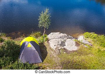 camping, dans, les, désert