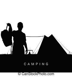camping, dans, nature, homme, silhouette, dans, noir, illustration